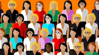 vector flat  illustration of women business community. a large g