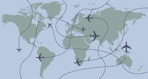 Airplanes traces over the world map