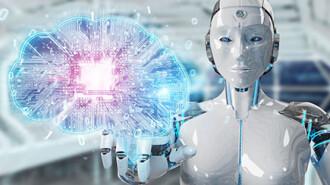 Robot creating artificial intelligence in a digital brain 3D ren