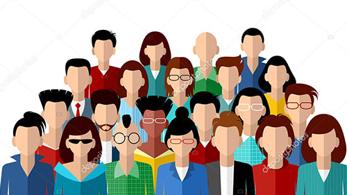 Faceless community of people